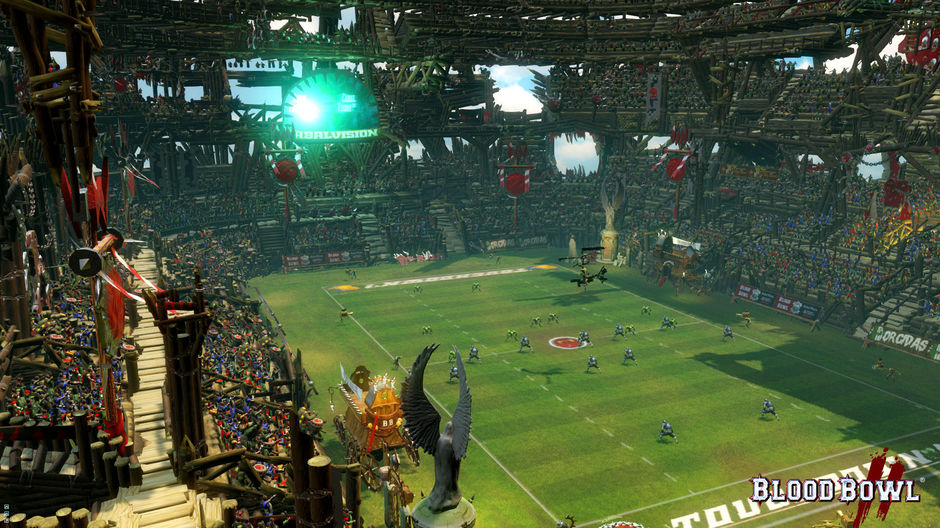 The stadiums in 'Blood Bowl 2' are now larger, complex and full of fans and elements that brings life.