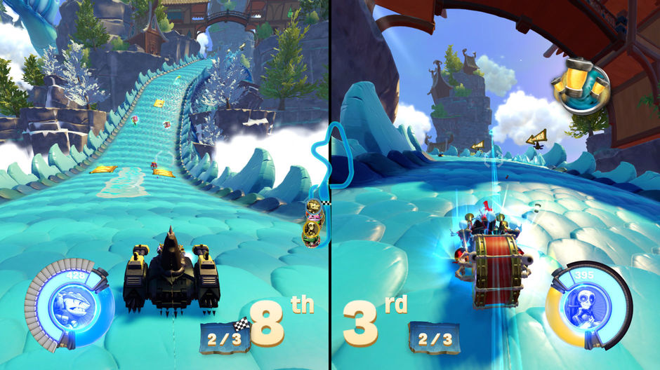 There are different types of races: the player against AI one on one, competitive split-screen or online with other players.